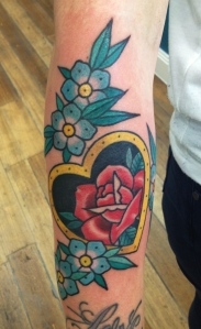 Heart, rose and flower tattoo