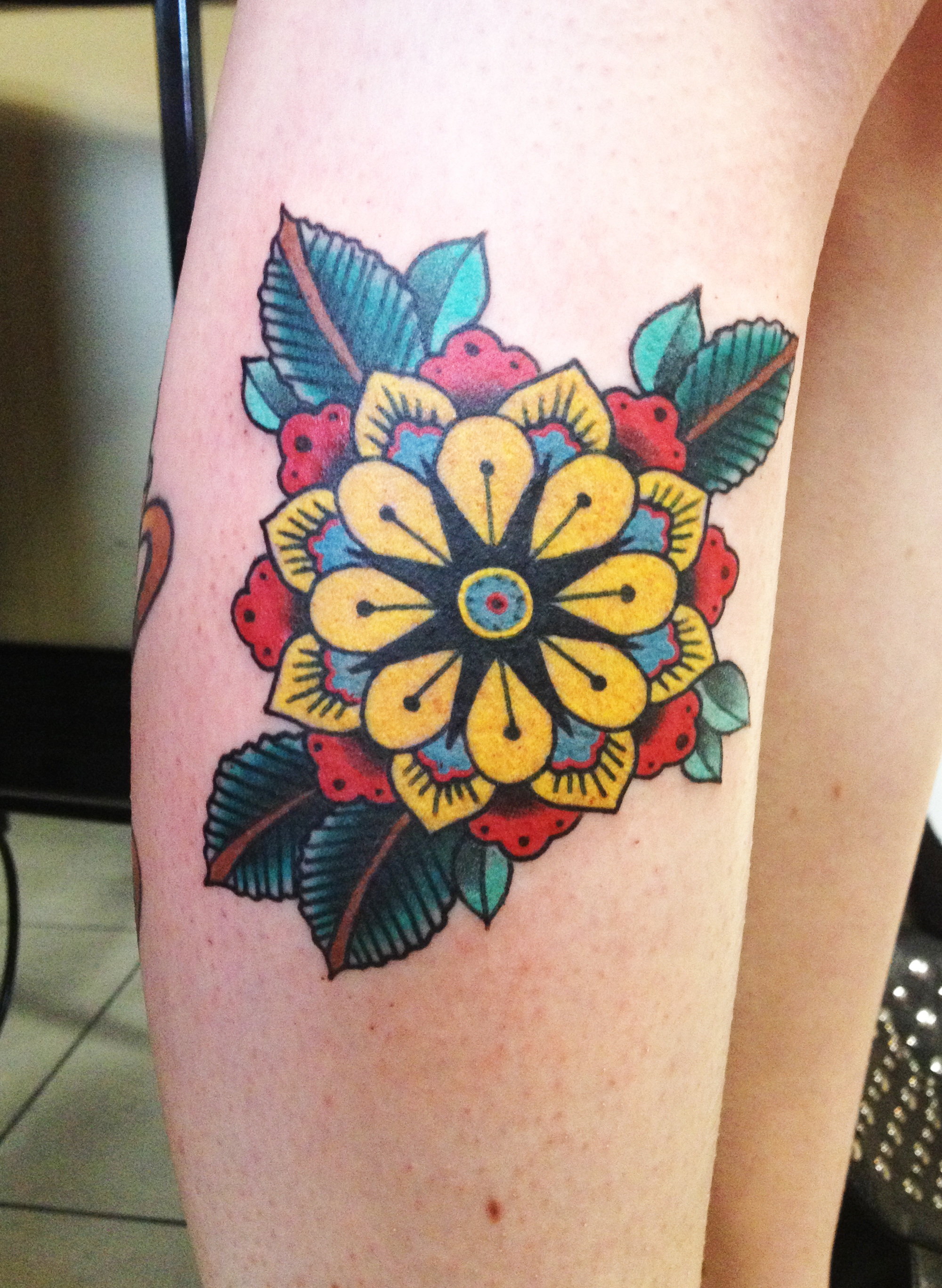 geometric flower tattoo color - photo #25