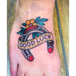 good luck horseshoe tattoo