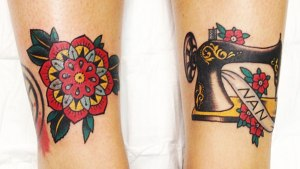 geometric flower tattoo and sewing machine tattoo