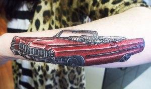 De Ville Car tattoo, for a Strung Out sleeve
