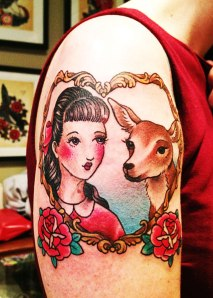 girl and deer tattoo