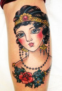 art deco girl head tattoo with headdress