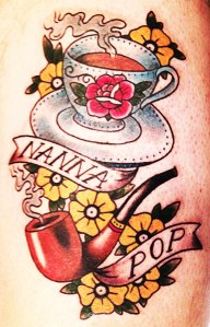tea cup and pipe tattoo