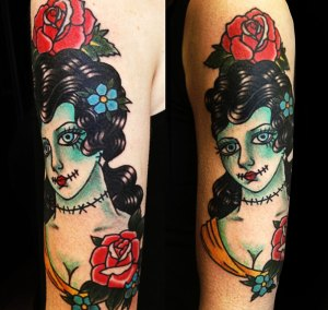 dead girl tattoo for a Strung Out sleeve