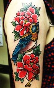 bird and peony tattoo
