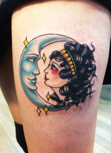 moon and girl tattoo
