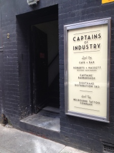 The entrance to our studio, go up the stairs, we are above Captains Of Industry Cafe