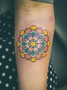 geometric mandala flower tattoo I did at Melbourne Tattoo Company , photo taken by Rol rolexshitthebed.com