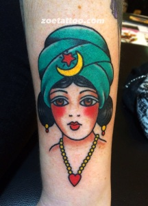 Girl tattoo based on vintage flash design